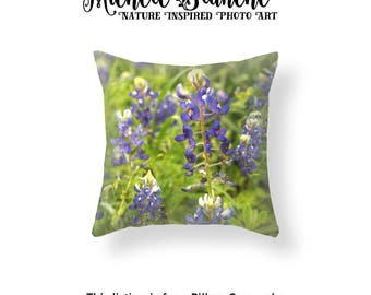 Bluebonnet Flowers Pillow, Texas Bluebonnets Pillow Case,  Purple and Green Field Cushion Cover, Texas Field of Flowers Nature Throw Pillow