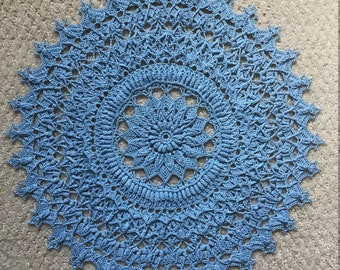 Handmade Light Blue Textured Crochet Doily, Florence