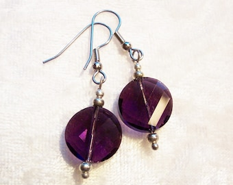 Purple Earrings, Purple Glass Earrings, Purple Glass Faceted Disc, Clip ons Available