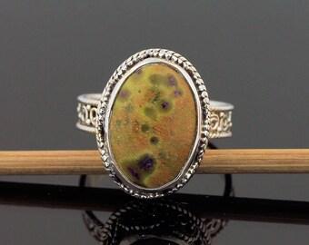 Rare Ocean Jasper Silver Ring // 925 Sterling Silver // Ring Size 8.5 // Handmade Jewelry