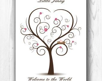 Baby Shower Guest Book Fingerprint Tree Baby Shower Guesbook Thumbprint Tree Personalized Guest book Tree baby bird - DIGITAL PRINTABLE JPEG