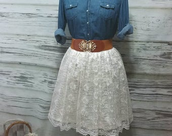 Free Shipping to USA Custom Made Ivory Lace Skirt -For Bridesmaid, Party Lace Skirt, Photo Prop