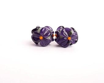 Purple flower Earring Pair, Lampwork Beads, Handmade Glass Bead Set, Floral Lampwork, Murano Glass Beads, Flower Beads, Glass Flowers