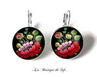 925 Sterling Silver: Stud Earrings with glass cabochons * flowers * (160218) 3 sizes