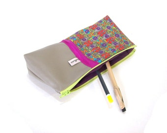 pencil case gray and multicolor graphic fabric , school case in faux leather