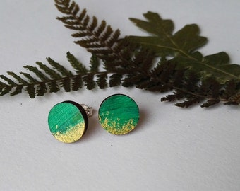 Wood Hand Painted Circle Stud Earrings in Green and Gold