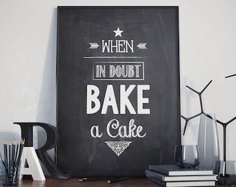 Vintage 'Bake a cake' baking poster.