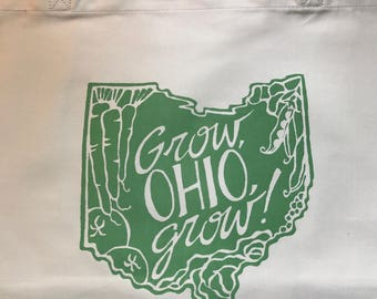 Ohio, vegetable print, printed bag, farmers market tote, printed tote bag, reusable bag, Ohio print bag, green print bag, grocery bag