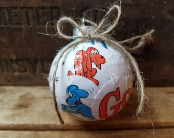 Go Dog Go book pages ornament,  upcycled Dr. Seuss book ornament, P.D. Eastman book