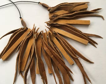 Recycled leather and wooden counting rods necklace by Mainichi