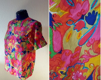 Oversized Silk Psychedelic Floral Blouse || Women's Vintage Jack Mulqueen Neon Print Shirt || Abstract Tunic Top