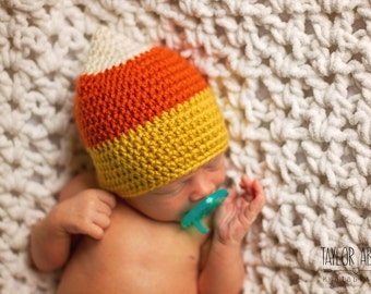 Crochet Candy Corn Hat, Candy Corn Hat, Halloween Hat, Crochet Halloween Hat, Baby Candy Corn Hat, Newborn Photoprop, Candy Corn Photoprop