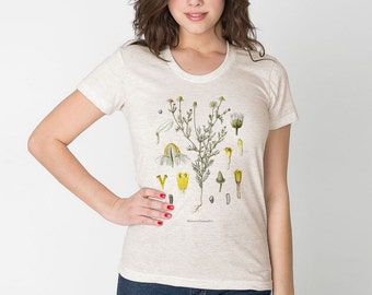 Botanical Flower Tshirt / Chamomile Womens Tan Tri-blend American Apparel Boho Flowers / Vintage Illustration Digital Printed /T1104-p