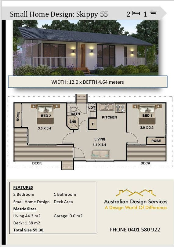 Awesome 2 Bedroom Small Home Design | House Plan SALE | 55 M2 Or 592 Sq Foot