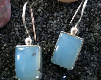 Chalcedony Dangle Earrings,925 Sterling Silver Earrings,Aqua blue earrings, Square earrings,Gemstone Earrings,Birthstone jewelry by Taneesi
