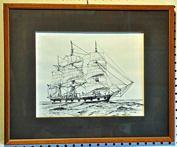 Vintage 1975 CLIPPER SHIP PRINT, Black and White Sgnd R Manheimer, Professionally Framed with Black Mat, Ready to Hang Exc. Condition