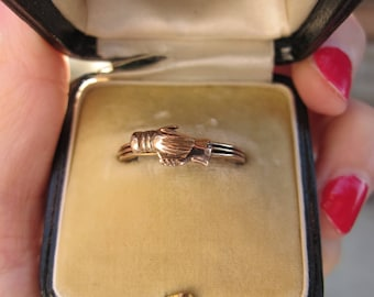 Antique Fede Gimmel Betrothal Ring in 14k Yellow Gold