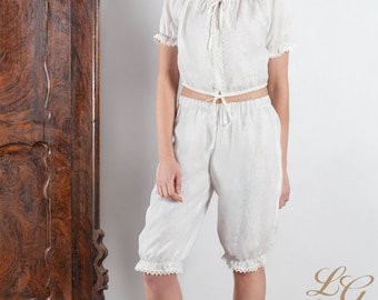 READY TO SHIP  Size S / Linen Pajama Set White For Women / Cropped Pajama Top And Trouser/ Luxury Pajama Linen