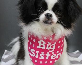 Dog Bandana, Personalized Dog Bandana, Tie on Dog Bandana, Big Sister Dog Bandana, Big Brother Dog Bandana
