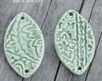 2 Handmade Pottery Beads with Unglazed Backs for Essential Oils in a Green Tea