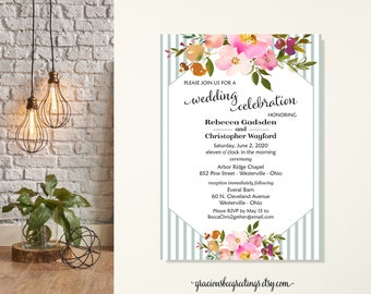 Wedding Invitation, Barn Wedding, Garden Party, Rehearsal Dinner, Vow Renewal, Post Wedding Invite, We Eloped Wedding Reception, Floral