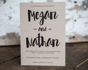 Wedding Invitation, Script Wedding Invitation, Painted Invitation, Rustic Invitation- Script Wedding Suite : A7 Wedding Invitations