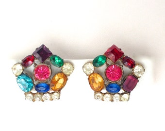 Multicolored Fruit Salad Rhinestone Vintage Clip Back Earrings with Gold Etched Setting