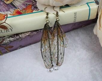 Delicate Little Sprite Fairy Wing/Butterfly/Cicada Earrings