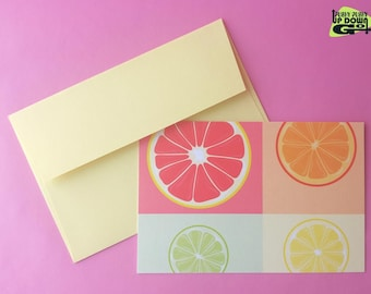 Colorful Citrus Note Cards Set, Spring & Summer Greeting Cards, Thank You Cards Set