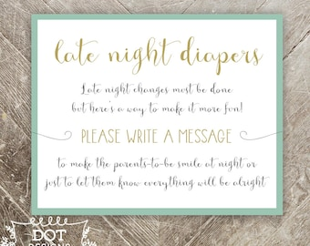 Late Night Diapers Game - Once Upon a Time Baby Shower - Mint Green & Gold - Baby Shower Game Active