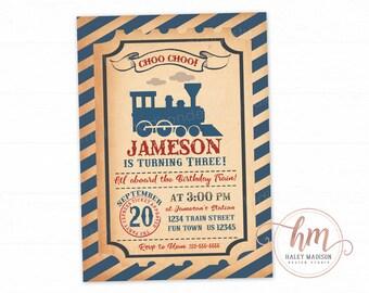 Vintage Train Birthday party Invitation, Choo Choo Train invitation, Train ticket, Steam Engine train invite, PRINTABLE FILE