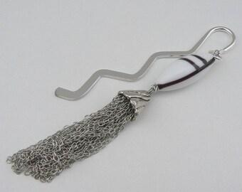 White Lampwork bead bookmark