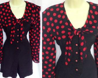 Vintage 80s 90s Mod Rockabilly Pin Up  Black & Red Polka Dot Sailor Bow Tie Collar Playsuit Romper Medium