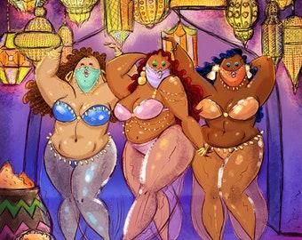 Big Mama's Arabian Nights & Burlesque postcard