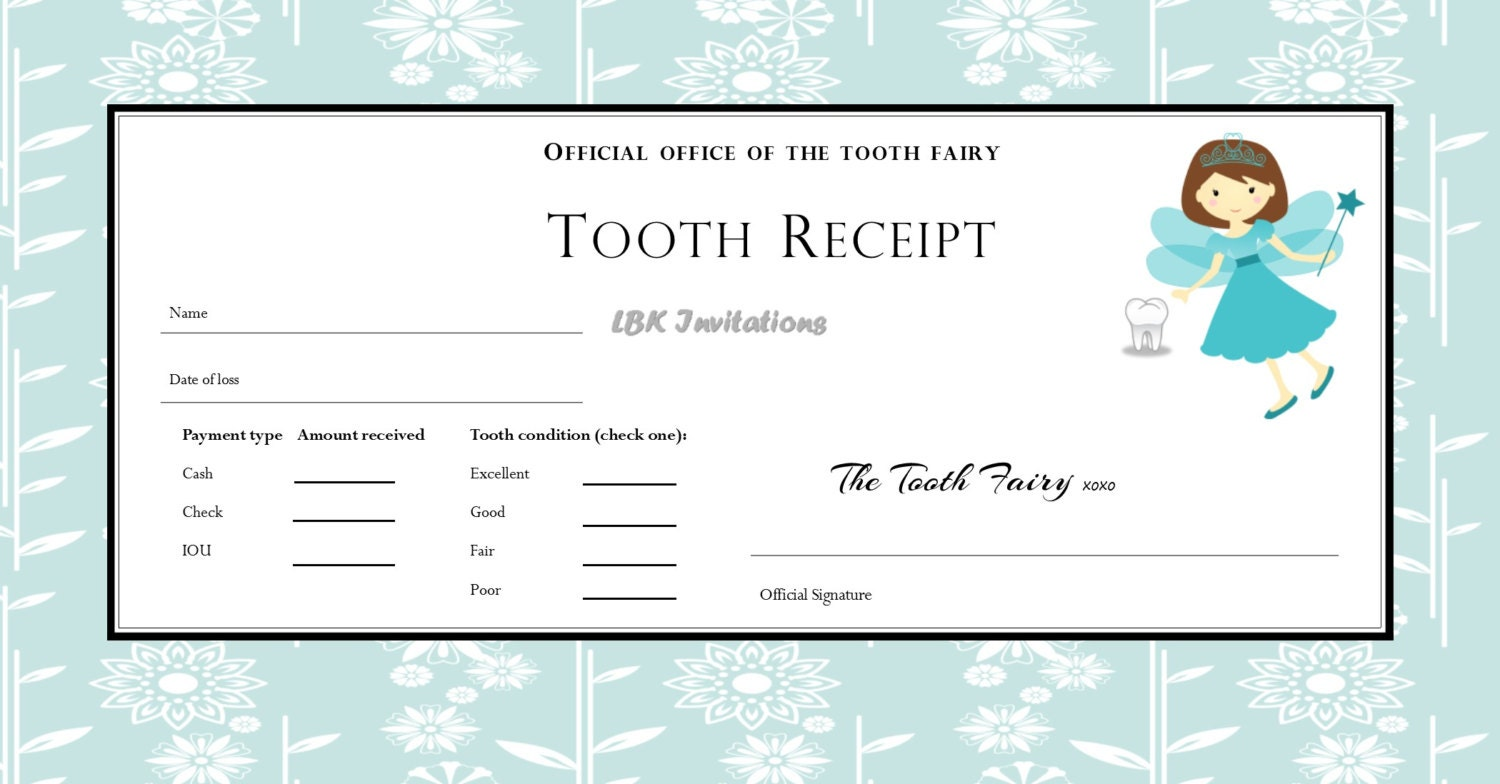 Custom tooth fairy receipt boy and girl 5 designs included zoom xflitez Choice Image