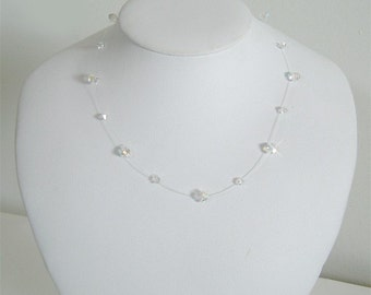 Simple Floating Illusion Bridal Wedding Swarovski Crystal Sterling Silver Necklace