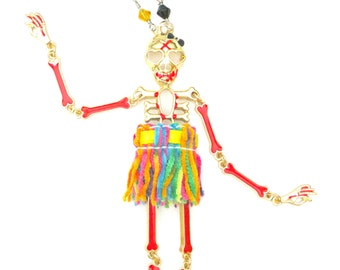 Girlie Girl Skeleton in a Skirt Necklace with Multicolor Glass Bead Chain gold red rainbow black rocker chic sass Gasparilla skull whimsical