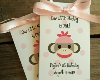 Sock Monkey Baby Shower  1st 2nd 3rd 4th Birthday Party Personalized Flower Seeds Packets  Party Favors SALE CIJ Christmas in July
