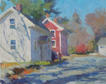 Original 8x10 Oil Painting Plein Air Parallel Houses in the Fall Echoes New England Architecture New England Impressionist Fall Scene Art