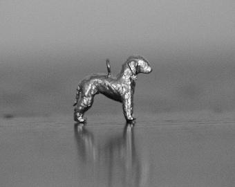 Sterling Silver Bedlington Terrier Charm, Silver Bedlington Pendant