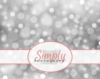 NEW Wrinkle Free, GLARE Free Fabric,CHRISTMAS Silver Bokeh , Photography Backdrop