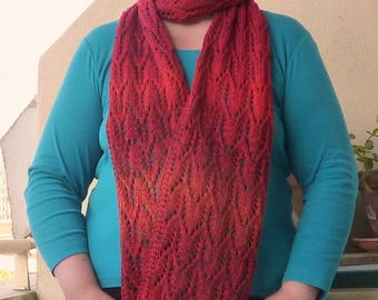 Red + ombre lace scarf