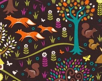 Foxtrot fabric -Michael Miller Foxtrot -woodland fabric-jewel foxtrot -Michael Miller fabric -quilting cotton -norwegian woods -fox fabric