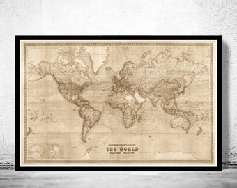 Discovery map etsy beautiful world map vintage atlas 1914 mercator projection sepia gumiabroncs Images
