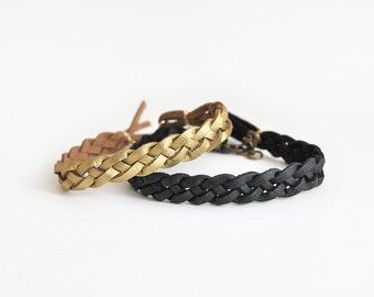 Couple bracelet set in gold and black faux leather, set of two his hers braided bracelets