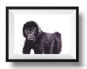 Gorilla Art Print, Animal Wall Art, Watercolor Illustration, Childrens Art, Nursery Wall Art, Kids Wall Art, Wall Decor, Frameable Art