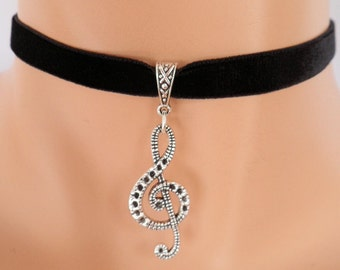 treble clef choker, black velvet choker, music note necklace, stretch ribbon
