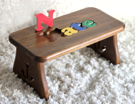 Personalized Hardwood Puzzle Stool Anchor Design Christmas