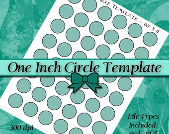 DIY DIGITAL Collage Sheet TEMPLATE 1 Inch Circle 8.5x11 Page with Video Tutorial Instructions (Instant Download)