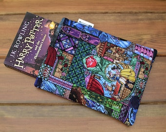 Handmade with Beauty and The Beast fabric book sleeve keeper paperback cover book lover gift